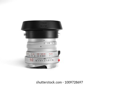 Chinatown,Bangkok/Thailand - January 25 2018 : Photo of rare classic rangefinder lens for 35mm film camera since 1979 to 1994 by leica germany in name Leica Summicron 50mm f2 version 4 silver.
