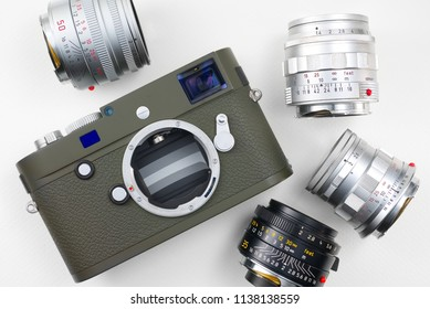 Chinatown,Bangkok/Thailand - July 20 2018 : Digital rangefinder camera CMOS sensor 24.2million pixels by Leica since 2015 from Germany that compatible with Leica Summilux and Summicron lens from 1959.
