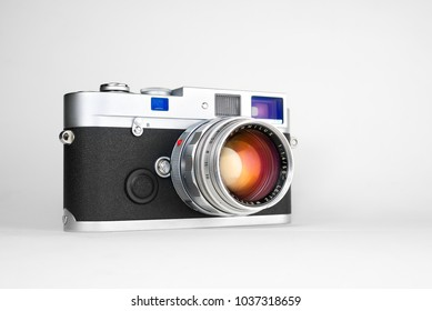 Chinatown,Bangkok/Thailand - March 03 2018 : Photo of rangefinder lens for street photography since 1959 to 1961 from germany in name Leica Summilux 50mm f1.4 version 1 with Leica MP silver camera.