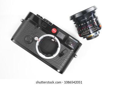 Chinatown,Bangkok/Thailand - May 09 2018 : Photo of Leica limited edition lens since 1996 from Germany in name Leica Summicron-M 35mm f2 ASPH. black paint with Leica M6 rangefinder film 35mm camera.