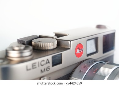 Chinatown,Bangkok/Thailand - November 13 2017 : The Leica camera is a popular rangefinder camera that made in germany with advanced mechanical and design for professional to shot street photography.