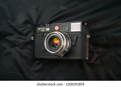 Chinatown,Bangkok/Thailand - October 19 2018 : Rare vintage lens since 1958-1969 by Leica Germany in name Leica Summicron 35mm f2 version1 nickname 8E with Leica MP6 TTL rangefinder film 35mm camera.