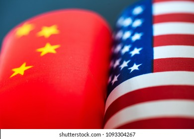 China-US trade war concept - flag of China and the United States
