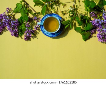 chinaware jasmine tea, green leaves and flowers on yellow background. space for text, top view.