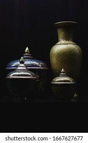 Chinaware thai on black background