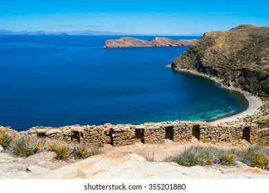 Chincana Inca ruin on Isla del Sol, Lake Titicaca, Bolivia