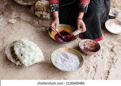 In Chinchero, Peru, the textiles are hand-made and includes the dyeing of alpaca and sheep wool with natural tints that come from leaves, flowers and cochineal insects