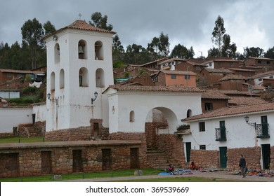 Chinchero in the Sacred Valley Peru. Spanish archetcture built on top of inca ruins and terraces.