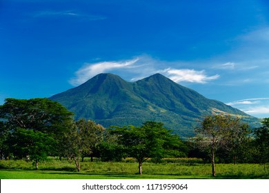 The Chinchontepec volcano viewed from the south side early in the morning at El Salvador, Central America