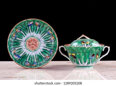 Chinese 19th century export green cabbage leaf famile porcelain.