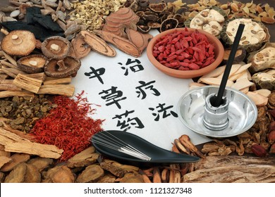 Chinese acupuncture needles and moxa sticks used in moxibustion therapy with herbs used in herbal medicine and calligraphy script on rice paper. Translation reads as chinese herbal therapy.