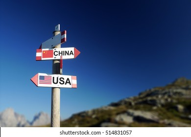 Chinese and American flags in two directions on road sign. Relationships and differences in diplomacy, strategy and interests.