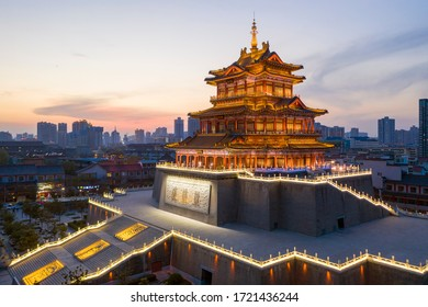 Chinese  ancient architecture: Qingwei Tower, which built in the Song Dynasty. It is located along the Weihe River in Xianyang City, Shaanxi Province.