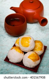 Chinese ancient dessert called 'Pia', Chinese pastry or moon cake, Traditional delicious cake in asia.