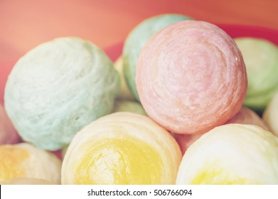 Chinese ancient dessert called 'Pia',ancient dessert Made from flour to Baking heat Mashed golden beans stuffed with salted egg yolk,Chinese pastry, Traditional delicious cake in asia,pastel color