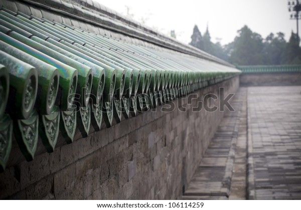 Chinese ancient fence and roof