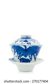 Chinese antique blue and white tea bowl, cover and saucer, Museum quality on white background