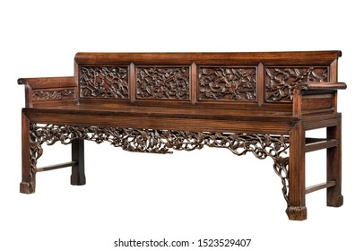 Chinese antique carved rosewood sofa furniture isolated on white