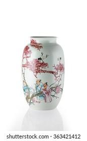 chinese antique vase on the plain background