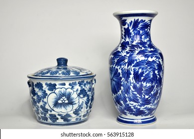 chinese antique vase on the white background