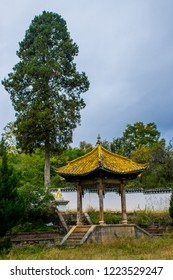 Chinese arbor it is traditional Chinese architecture. Located in Zhiyun Buddhist Temple near Lijiang Ancient Town, Yunnan Province, China.