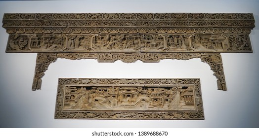 Chinese architectural brick carving image