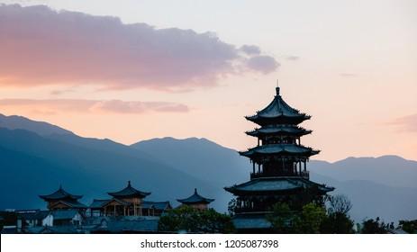 Chinese Architecture in Dali China at Sunset. Yunnan Province.