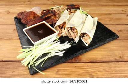 Chinese aromatic roasted duck meat and pancakes meal