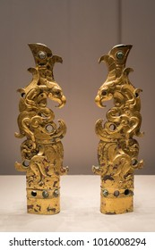 Chinese artifacts - Gilt Bronze Finials in the Shape of Mythical Brasts Inlaid with Glass