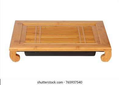Chinese Bamboo Tray or Table for Tea Ceremony on a white background