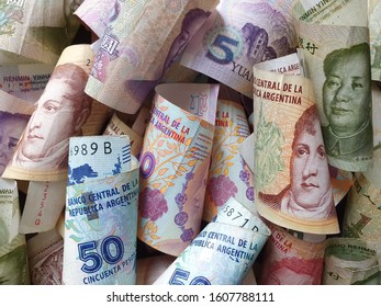 chinese banknotes and argentine bills of different denominations