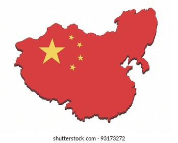 Chinese borders with Chinese flag inside isolated on white.