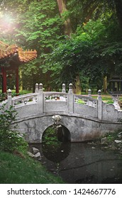 Chinese bridge in Asian park