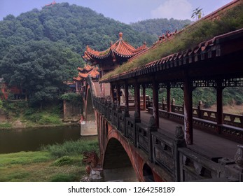Chinese bridge near Leshan Buddha in Sichuan, China