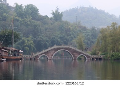 Chinese bridge on the river
