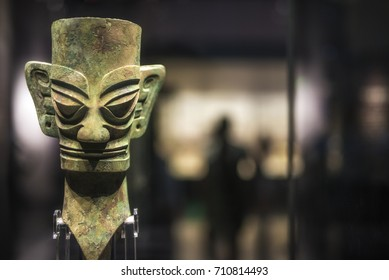 Chinese bronze human head unearthed from sanxingdui site, Sichuan, China