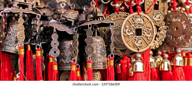 Chinese bronze wind bell background fortune lucky symbol. Chinese decoration amulet for Chinese New Year.