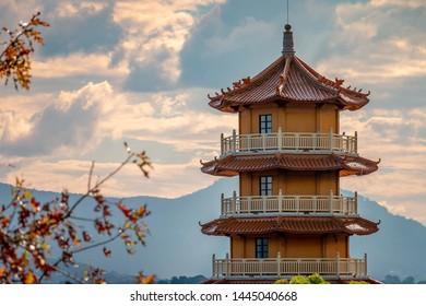 A Chinese Buddhist temple on a cloudy autoumn day.