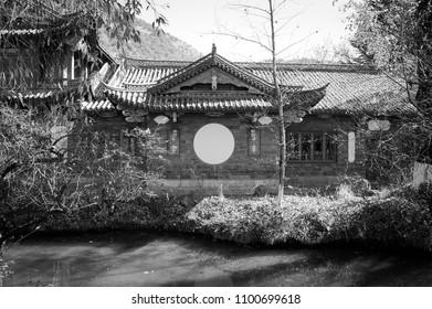 Chinese Building with a white circle (Lijiang, Yunnan, China)