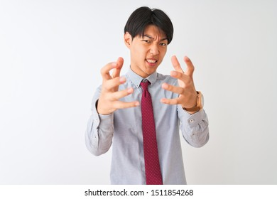 Chinese businessman wearing elegant tie standing over isolated white background Shouting frustrated with rage, hands trying to strangle, yelling mad
