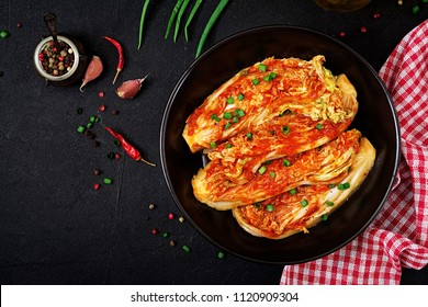 Chinese cabbage. Kimchi cabbage. Korean traditional food. Top view. Flat lay