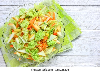 Chinese cabbage with sweet corn,carrots and apples, delicious salad