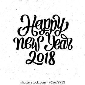 Chinese calligraphy for 2018 Happy New Year of the Dog. Hand drawn lettering text for vintage greeting card design.