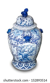 Chinese ceramic vases isolated on white background