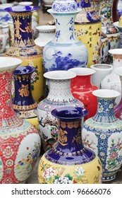 Chinese ceramic vases painted in vibrant colors