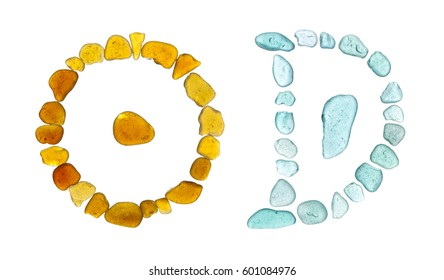 Chinese character ri - sun, on the left, and yue, moon, on the right, historic forms, sea glass mosaic