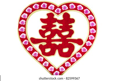 Chinese characters commonly used in traditional Chinese wedding:double happiness
