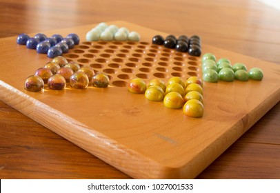 Chinese checker board with beautiful marbles