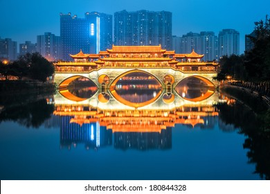 chinese chengdu anshun bridge in nightfall