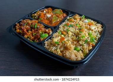 Chinese chicken fried rice combo with chicken manchurian and veg gravy